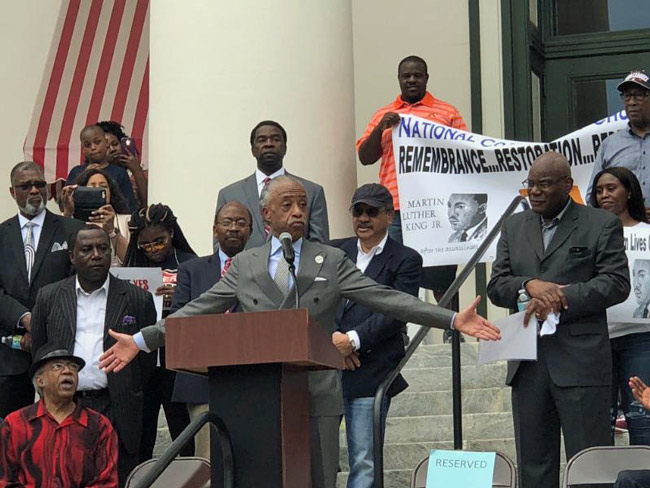 'By ruling on the eve of this rally, they gave us the impetus to really build a movement,' Al Sharpton said, referring to the federal appeals court's decision--a setback for those seeking to restore felons' voting rights. (NSF)