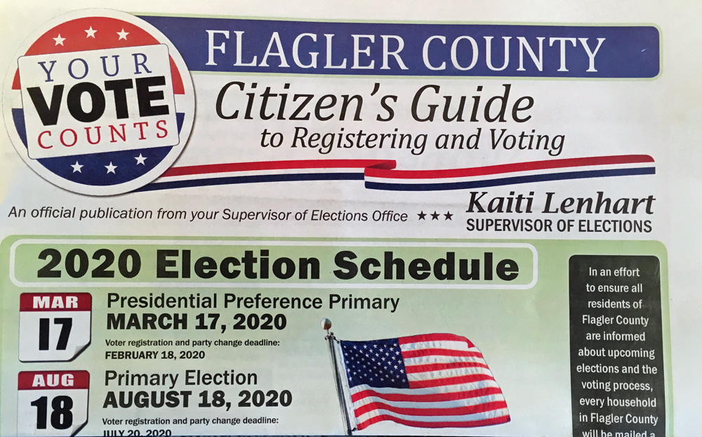 The Supervisor of Elections mailed a four-page elections guide to every household in the county. (© FlaglerLive)