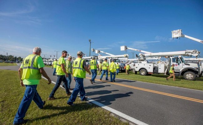 FPL staged close to 17,000 workers at 20 points across the state ahead of Hurricane Irma. The workers have been working to restore power even during hurricane feeder bands. (Facebook)