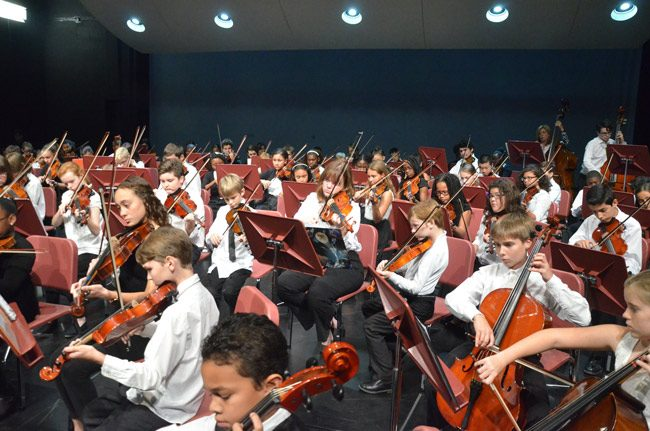 The Flagler Youth Orchestra's five ensembles, some 370 students in all, are all performing in the Strings Around the World concert this evening at the Flagler Auditorium. See below for details. (© FlaglerLive)