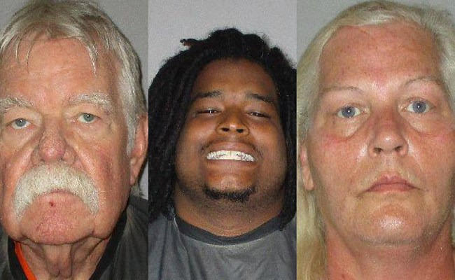 From left, Bobby Gore Sr., Phillip Haire Jr. (that was his actual mug shot as he was booked earlier this month), and Dorothy Singer.