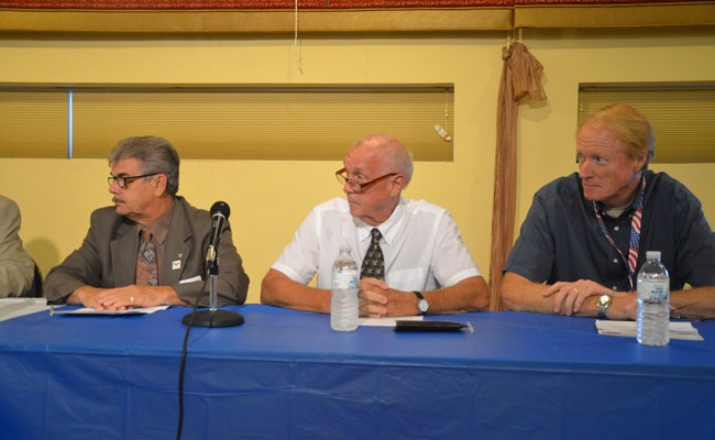 Dennis McDonald, right, during a 2012 election panel, with then-Commissioner George Hanns, left, and Charlie Ericksen, who was a candidate at the time. Ericksen would also be the subject of a frvolous ethics complaint, as was Hanns, but the action against Ericksen wasn't filed by McDonald. (© FlaglerLive)