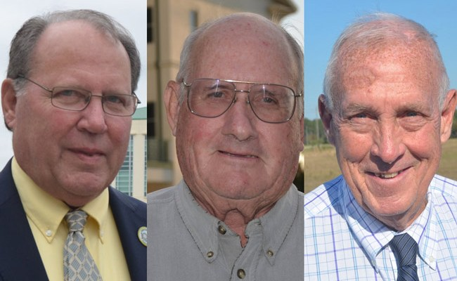 The three county commissioners who voted to ban medical marijuana dispensaries anywhere in unincorporated Flagler: from left, Greg Hansen, Dave Sullivan and Charlie Ericksen. (© FlaglerLive)