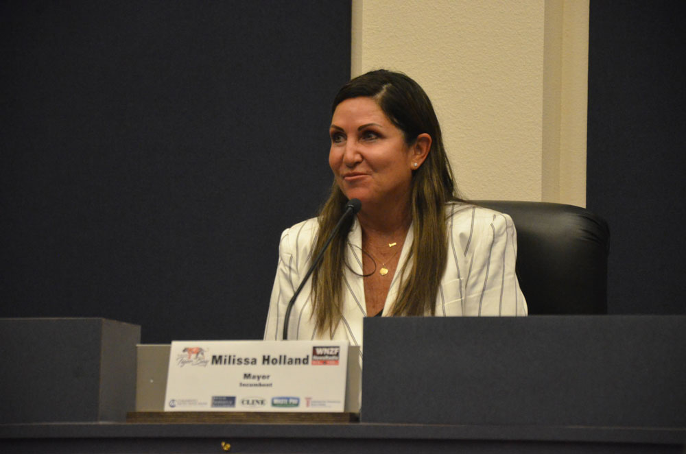 Milissa Holland during an election forum last September, in a seat she'd previously occupied as a county commissioner. (© FlaglerLive)