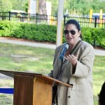 Milissa Holland in her last public appearance as mayor outside of a council meeting, on May 14, at the opening of the splash pad at the park named after her father. (© FlaglerLive)