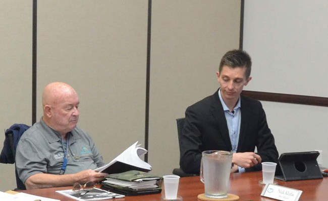 Palm Coast Council members Jack Howell, left, and Nick Klufas. (© FlaglerLive)