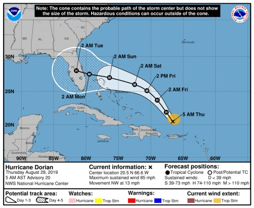 Hurricane Dorian is taking a more southerly path according to the National Hurricane Center's 5 a.m. forecast Thursday, with still too much uncertainty in the forecast.
