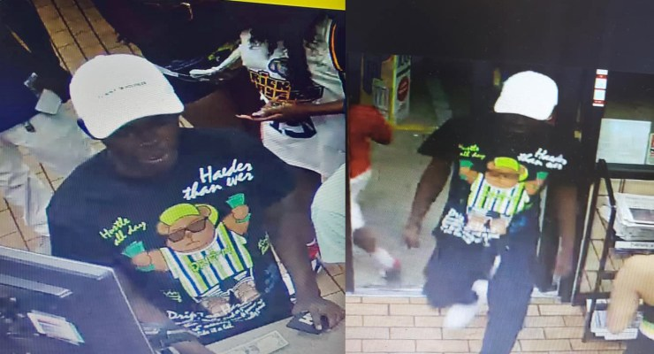 The Flagler County Sheriff's Office is looking for the man above, seen here at the Circle K in Bunnell, in connection with a shooting there Sunday night. Click on the image for larger view.
