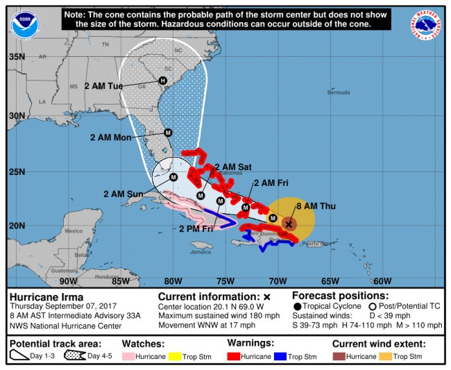 Hurricane Irma's track at 8 a.m. Thursday. Click on the image for larger view.