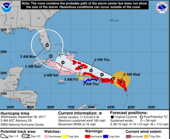Hurricane Irma's track as of 5 a.m. Wednesday, Sept. 6. Click on the image for larger view.