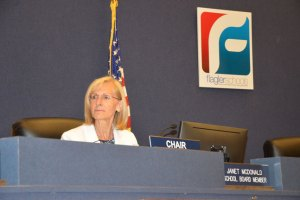 Janet McDonald chairs the school board. (© FlaglerLive)