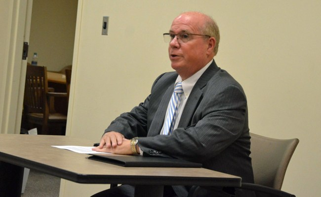 Former Sheriff Jim Manfre during his interview for judge Wednesday before the Judicial Nominating Commission. (© FlaglerLive)