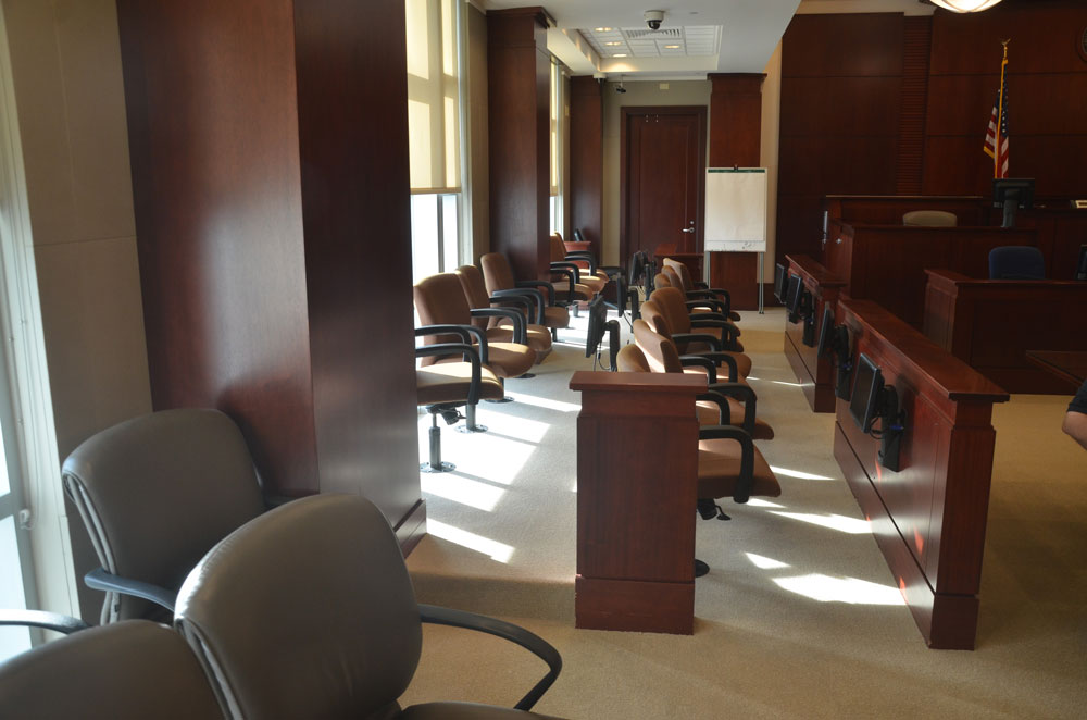 The jury box in Courtroom 401 at the Flagler County courthouse, where criminal trials are held. It'll be idle for a few more weeks. (© FlaglerLive)
