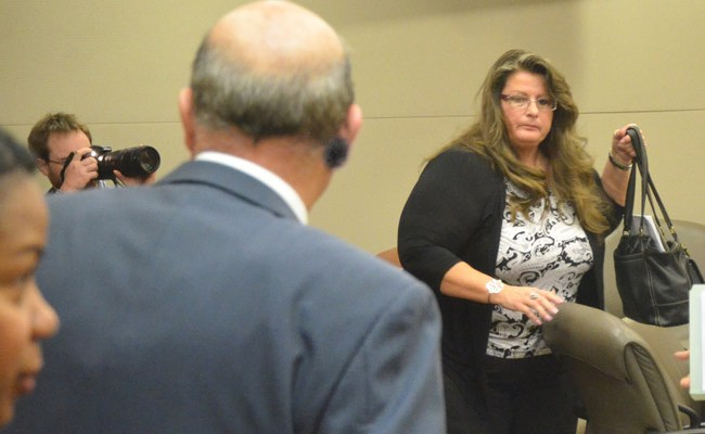Kimberle Weeks, leaving court last year. (© FlaglerLive)
