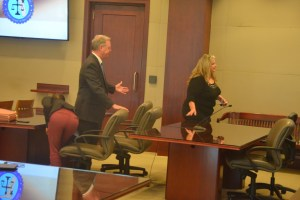 After the verdict: Kimberle Weeks and attorney Kevin Kulik. Click on the image for larger view. (© FlaglerLive)