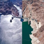 A Depart,ment of the Interior pair of pictures showing how Lake Mead's elevation dropped from 1,196 to 1,075 feet, a decline of 121 feet. It's gotten considerably worse since.