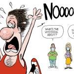 Mass mask hysteria by Bruce Plante, PoliticalCartoons.com
