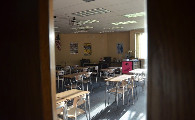 A math classroom at Indian Trails Middle School, the only school in the district to score an A other than iFlagler, the virtual school. (© FlaglerLive)