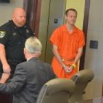 James McDevitt as he entered the courtroom today. (© FlaglerLive)