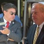 Flagler County Commission Chairman Nate McLaughlin, left, and Flagler Beach City Manager Larry Newsom. (© FlaglerLive)