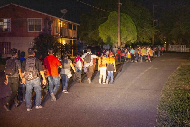 Undocumented migrants immediately after being seized by the U.S. Bordfer Patrol on June 15 near Los Ebanos, Texas. (Border Patrol)