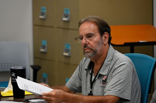 East Flagler Mosquito Control District Board Member Mike Martin today. (© FlaglerLive)