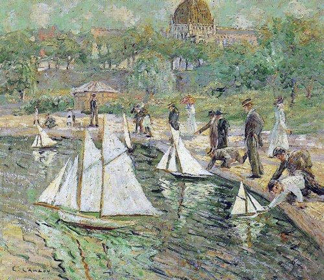 The newly formed Palm Coast Yacht Club meets at the pond at Central Park in Town Center today at 2 p.m. See details below. Above, 1907 Ernest Lawson (1873-1939) American artist - - Model Sailboat Pond Central Park