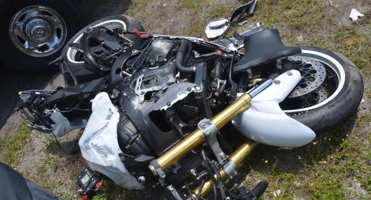 The 2015 Suzuki motorcycle after this morning's crash. Click on the image for larger view. (© FlaglerLive)