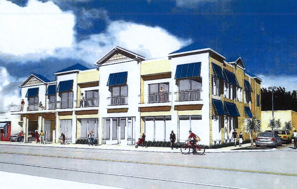 A rendering of Ocean Club, the mixed residential and shopping block that will remake the existing Bank of America building.