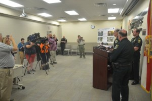 The press conference took place at the Sheriff's Operations Center in Bunnell. Click on the image for larger view. (© FlaglerLive)