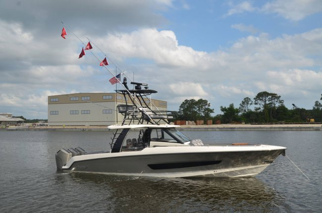 Boston Whaler's Outrage model was on display this morning. (© FlaglerLive)