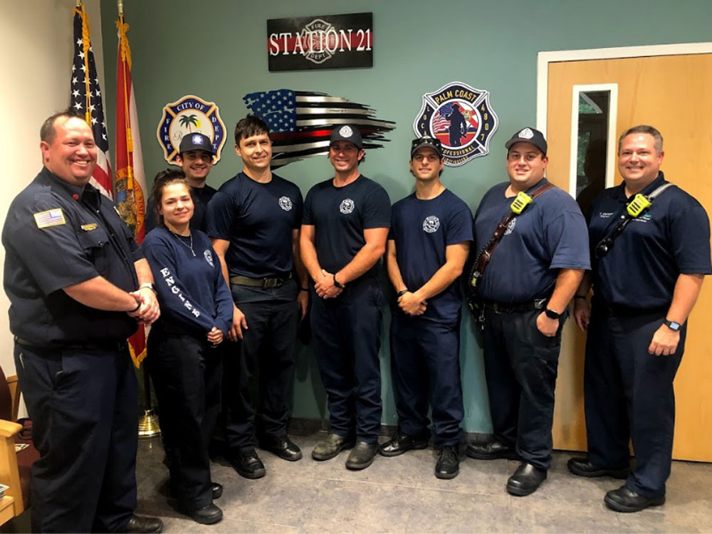 Members of the Palm Coast Fire Department who took part in the rescue on June 20. (Palm Coast)