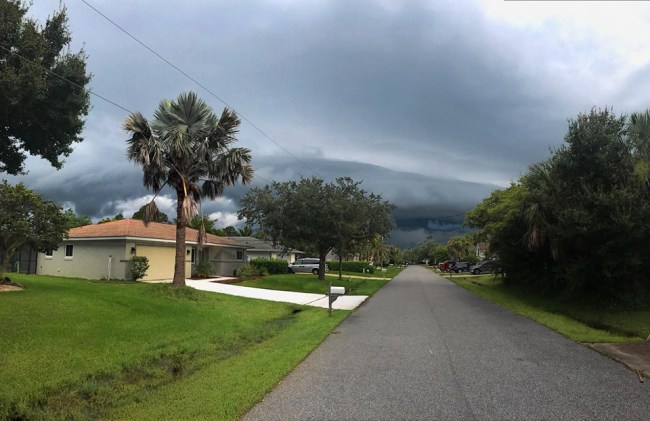 Not often you see mountains in Palm Coast's horizons. Palm Coast resident David Royall took this shot on Aug. 12, writing: 'It looks like a small mountain in the distance. But, this is coastal Florida, and that mountain is moving.' (c David Royall)