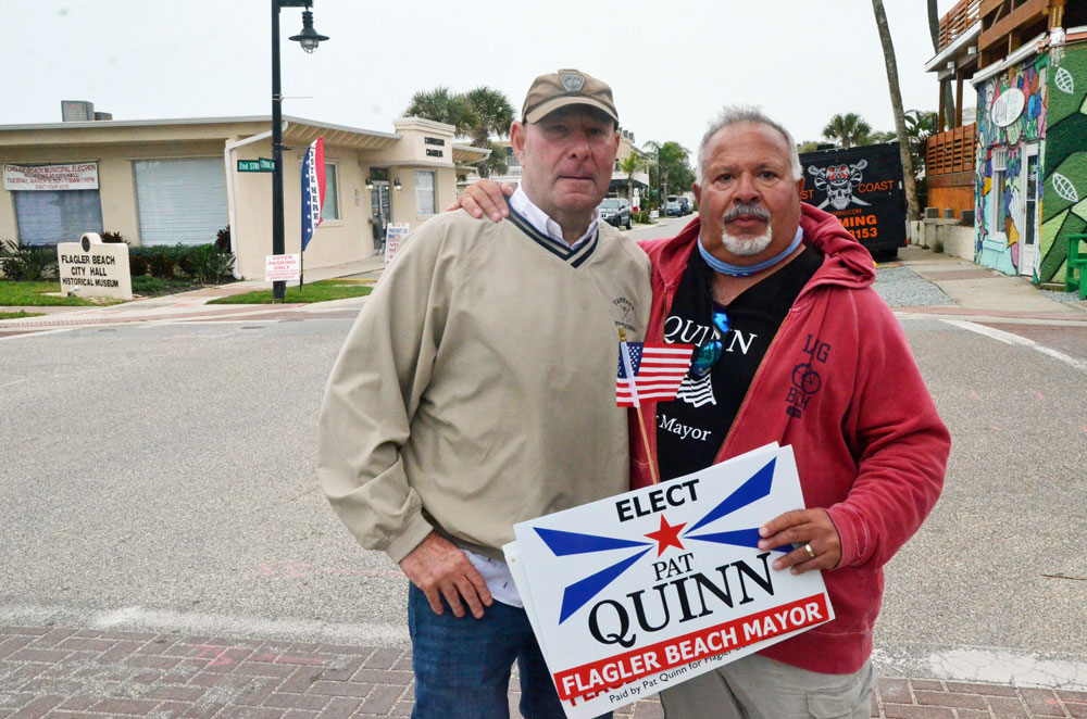 Pat Quinn, left, and his friend Tony Sabatiele, both formerly of Queens, N.Y. (© FlaglerLive)