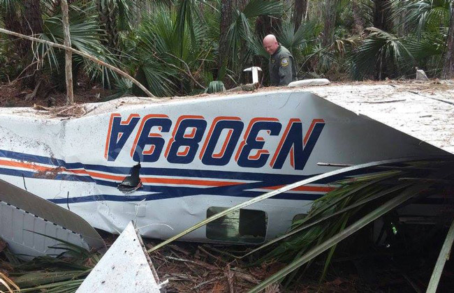The Beech 36 plane Joel Fallon and Josh Rosa were piloting when it crashed in the woods of Plantation Bay on Nov. 9, 2016. Both survived. (FCSO)