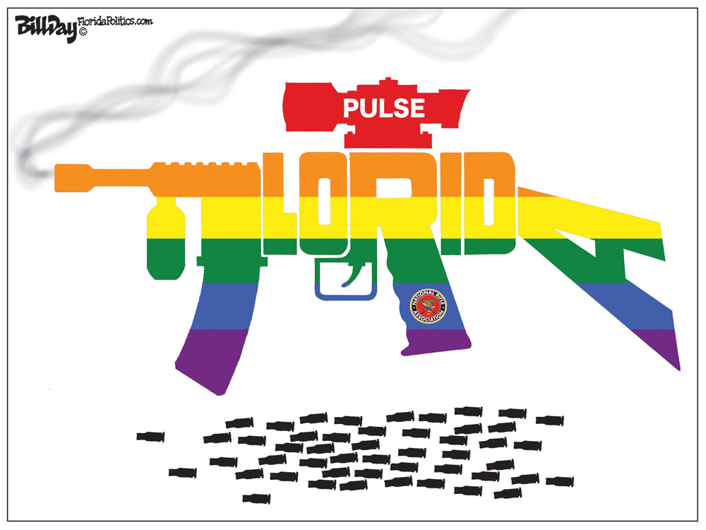 Today is the fifth anniversary of the Pulse massacre at the gay nightclub in Orlando, where the shooter murdered 49 people. A commemorative march and vigil is scheduled for this evening in Flagler Beach. See below. Above,