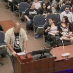Randy Bertrand addressing the Flagler County School Board at a meeting last year.