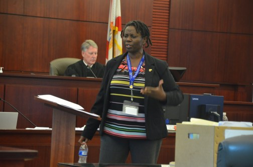 Assistant Public Defender Regina Nunnally, turning on her usual fire during closing. Click on the image for larger view. (© FlaglerLive)