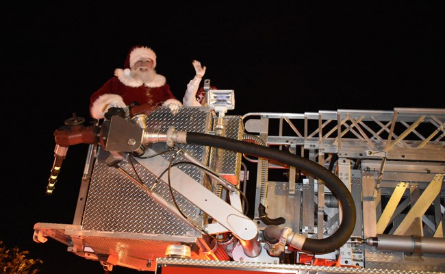 Santa arriving at last year's Starliught Parade in Palm Coast's Town Center. This year's parade is scheduled for Dec. 9. (Palm Coast)