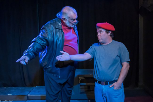 "City Rep director John Sbordone, left, will step onstage to portray Montague in the troupe's production of ""Romeo and Juliet."" Here Montague has a few words with Benvolio, played by Beau Wade. (Mike Kitaif)"