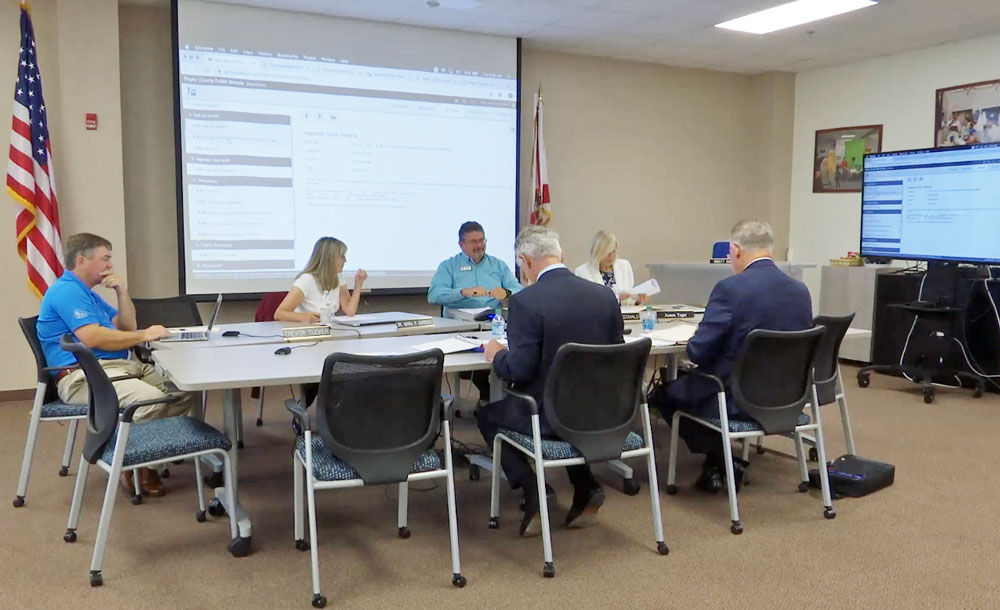 School board members meeting with consultants from the Florida School Board Association this morning to discuss the hiring of the next superintendent. Board member Colleen Conklin attended by phone.