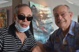 Richard Schriner, left, with his friend and fellow-artist Peter Cerreta in 2012. (© FlaglerLive)
