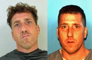 Sean Monti in his latest Flagler jail booking photo, left, and his latest state prison photo. He was released from state prison in January.