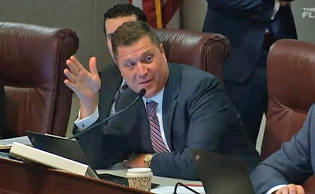Sen. Jeff Brandes, a member of the Community Affairs Committee, explains his amendment, which essentially lets governments like Flagler County maintain their existing regulations of short-term rentals. (Florida Channel)