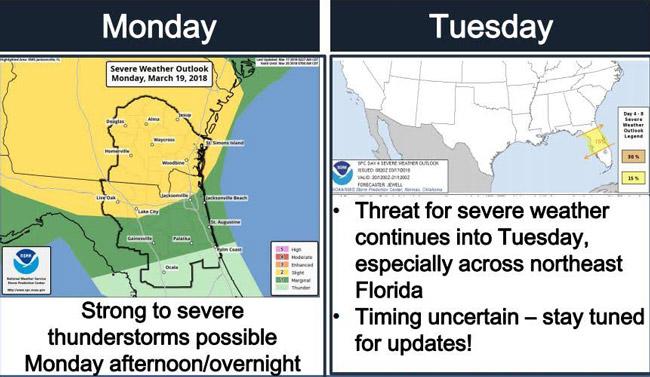 severe weather northeast florida
