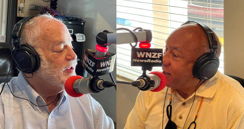 """Rabbi Merrill Shapiro, left, and """"Common Ground"""" host Shelly Ragsdale, who heads the Flagler branch of the NAACP, in the radio show's first episode, which aired Sunday. (WNZF)"""