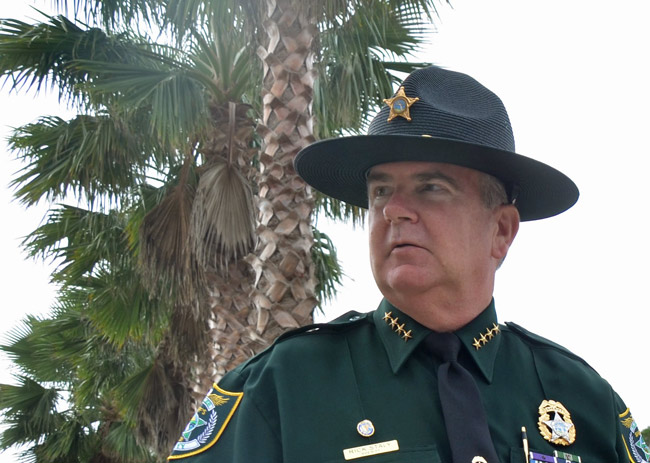 Sheriff Rick Staly was on patrol Friday evening when a Camaro blew past him. The rest did not go as planned. (© FlaglerLive)