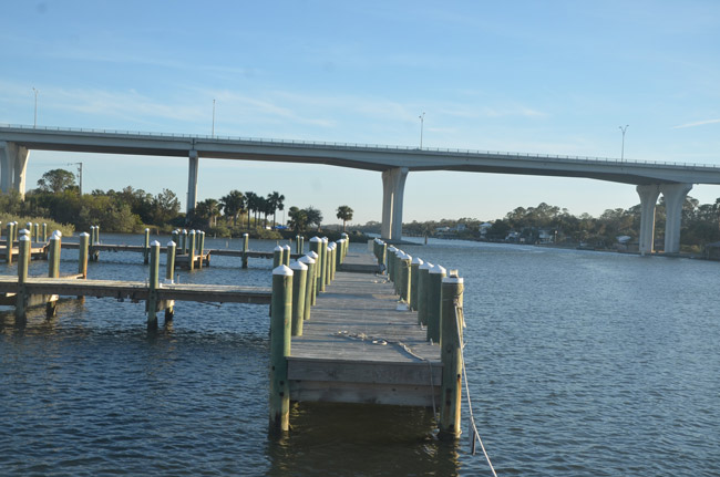 Howard Sklar's Flagler Beach marina at the foot of the Flagler Beach bridge may soon see some activity. But when, Sklar is not saying. (© FlaglerLive)