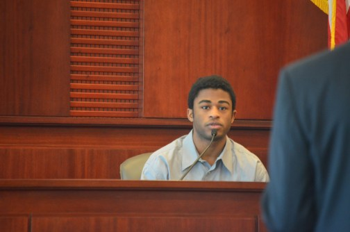 L'Darius Smith on the stand this morning. Click on the image for larger view. (© FlaglerLive)