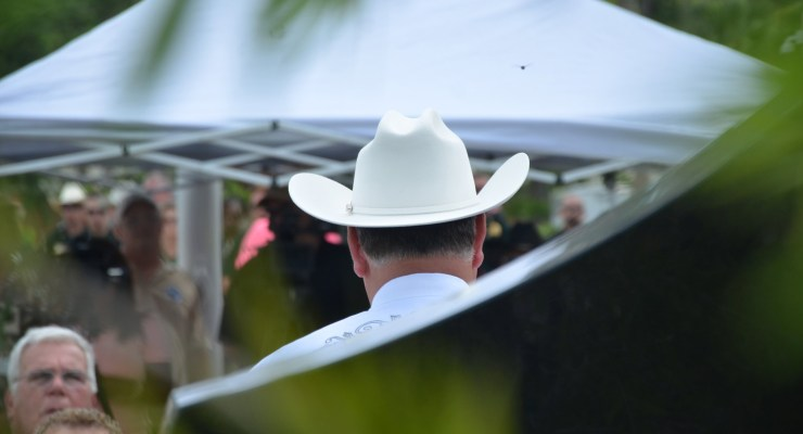 Sheriff Rick Staly sporting his new stetson hat at Monday's centennial celebration of the Sheriff's Office. (© FlaglerLive)